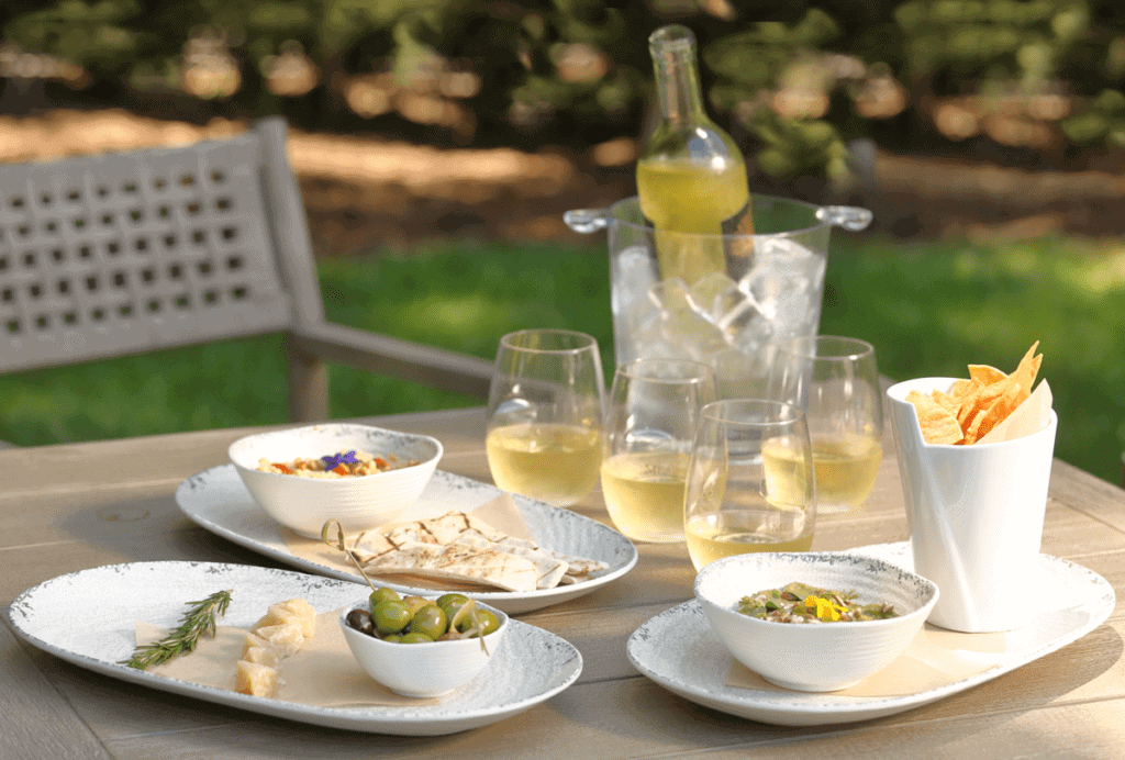 Poolside dining at Meadowood