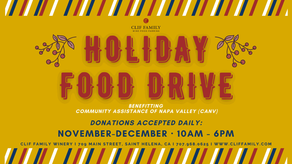 Clif Family Holiday Food Drive poster