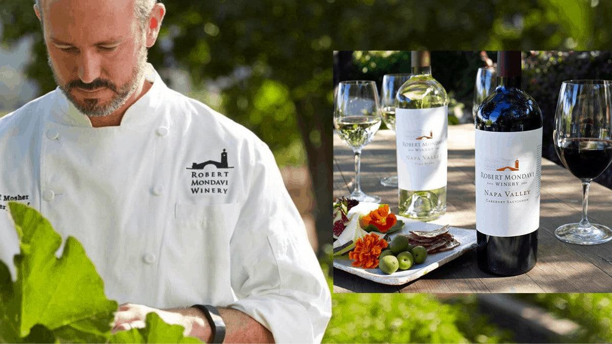 Robert Mondavi's Executive Chef Jeff Mosher with food and wine