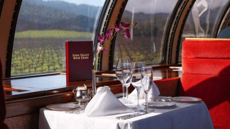 Napa Valley wine train dining setup